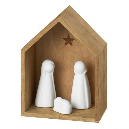 Mini Crèche bois et Figurines porcelaine│PM