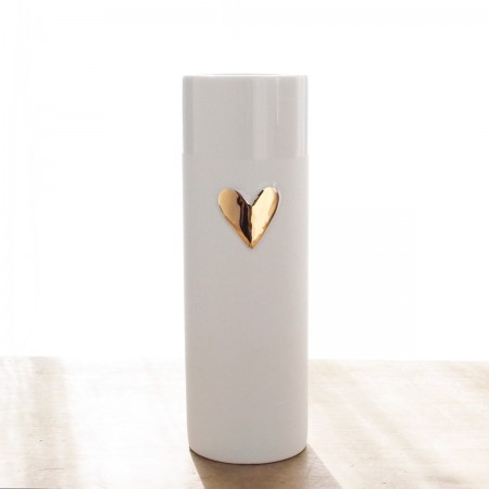 Vase porcelaine Coeur doré GM