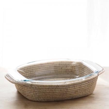 Plat à gratin oval Pyrex et support Rotin Blanc